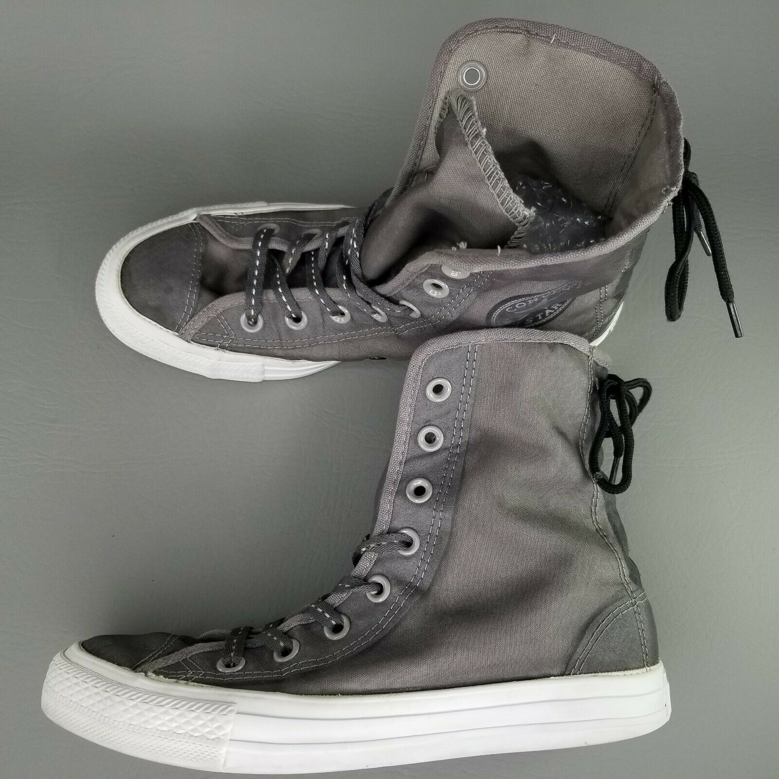 Converse CTAS Back Lace Hi Top Shoes Womens SZ 8 See Through Chucks Gray White