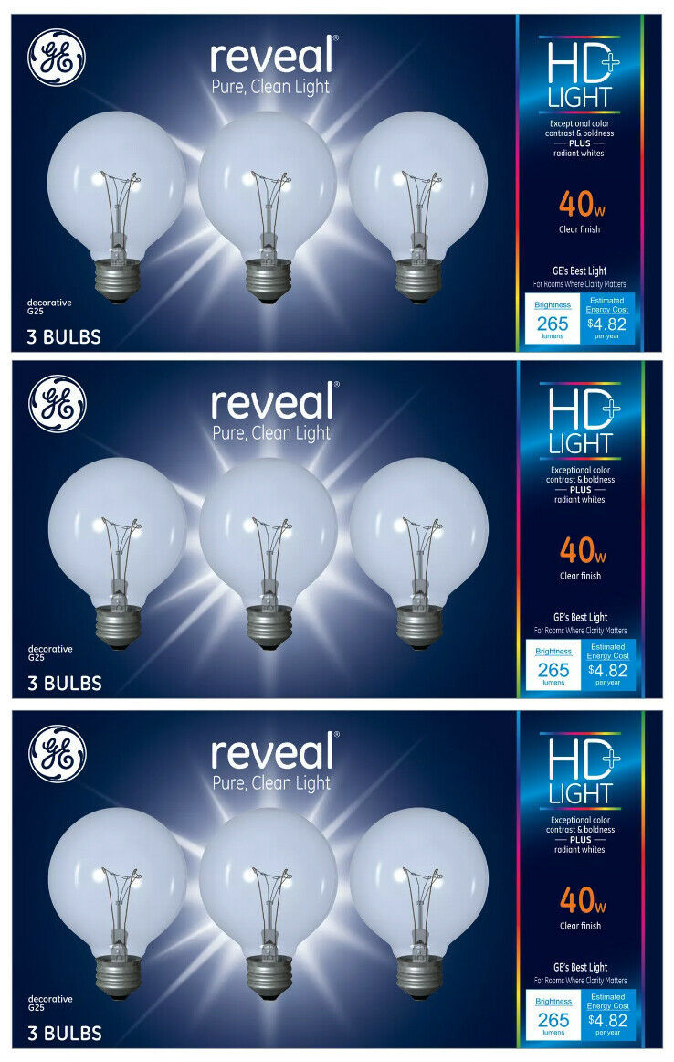 9 Pack GE Reveal HD+ Light 40-Watt G25 Clear Globe light Bulbs w Medium Base