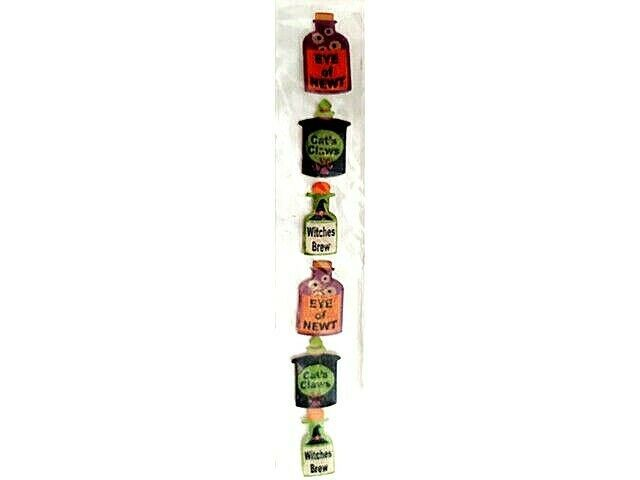Halloween Poison Bottles with Glitter Stickers, Set of 6
