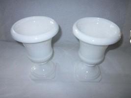 Vintage Pair of White Pressed Milk Glass Pedestal Vases/Urns/ Planters - $29.00