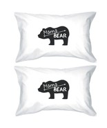 Mama Bear White Cotton Pillow Case Unique Design Gifts For Moms - $30.99