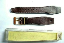 NOS Vintage Hirsch Leather Dark Brown Gold Buckle Watch Band 18mm - $18.75