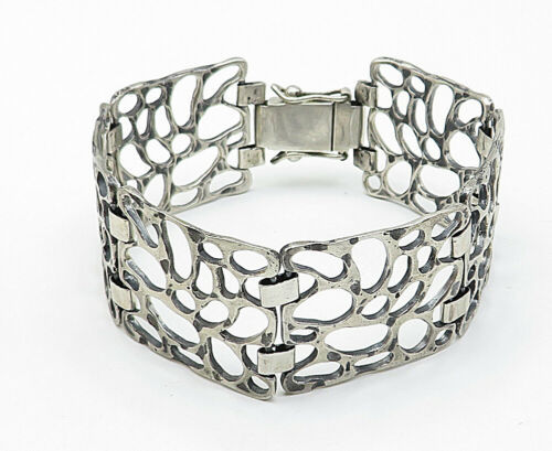 925 Sterling Silver - Vintage Spotted Cutout Design Chain Bracelet - B5357