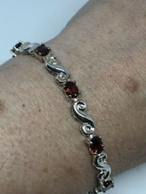 Vintage Genuine Red Garnet 925 Sterling Silver Tennis Bracelet - $183.15