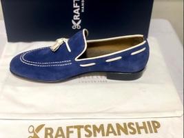 Handmade Men's Blue Suede Slip Ons Loafer Dress/Formal Shoes image 2
