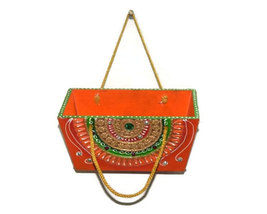 Handmade Hand painted Wooden basket, Multipurpose Small Basket with Handle  - $38.99