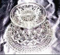Cut Glass Footed Bowl with Detailed Diamond Design AA18-11810 Vintage Heavy image 4