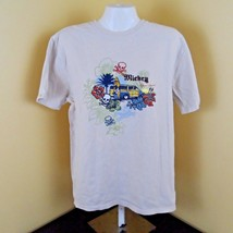 Walt Disney World Mens Mickey T-Shirt Beige Surfer Aloha Woody Wagon Size Small - $10.50