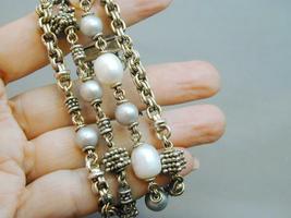 Michael Dawkins 4 Strand 925 Granulation Bead Gray White FW Pearl Bracelet image 3