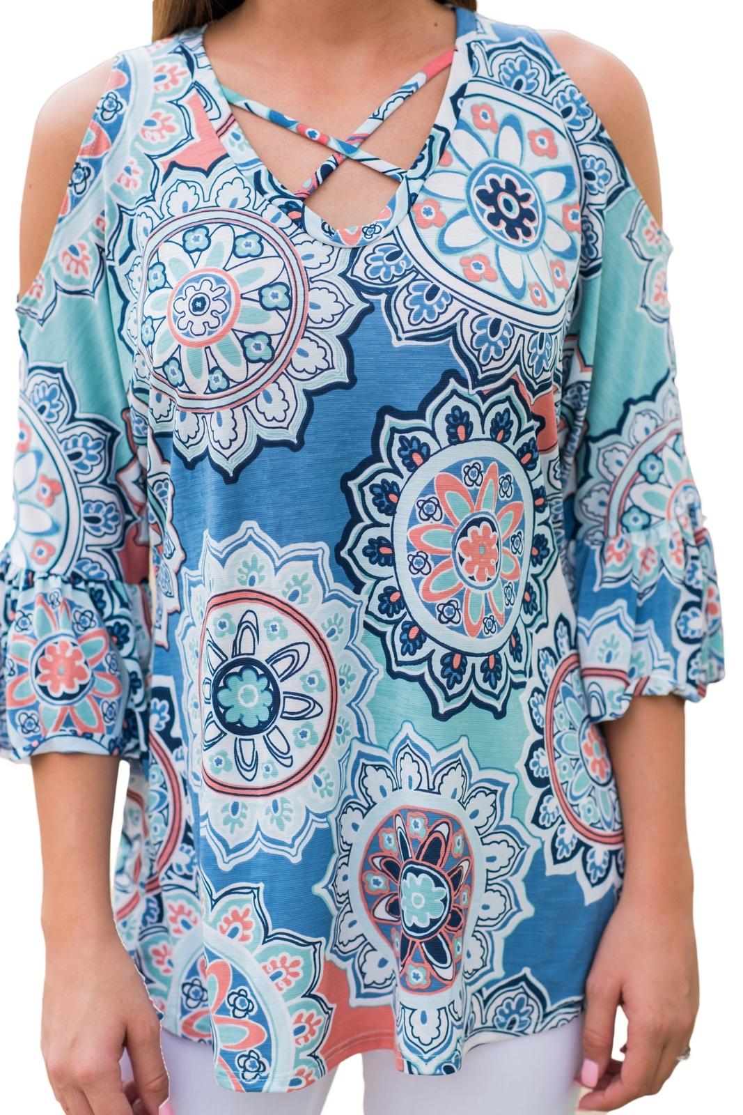 Blue Cold Shoulder Criss Cross Floral Blouse