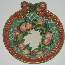 Vintage Fitz & Floyd Christmas Serving Candy Bowl Ribbons & Flowers - $27.72