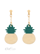 Riah Fashion | Green Pineapple Wood Post Dangle Earrings - $14.85