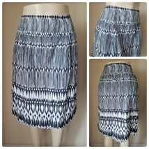 Lane Bryant White Black Tribal Print Stripe Mid Calf Length Full Skirt C... - $10.50