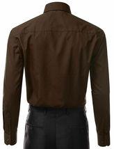 Berlioni Italy Men's Long Sleeve Solid Regular Fit Brown Dress Shirt - XL image 3