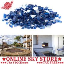 Blue Fire Glass Fire Pit Fireplace Gas Propane Reflective Crystals Moder... - $78.11