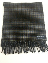 """Nautica 100% Wool Scarf Made in Italy Plaid Blue Brown 12 x 55"""" Fringed ... - $10.45"""