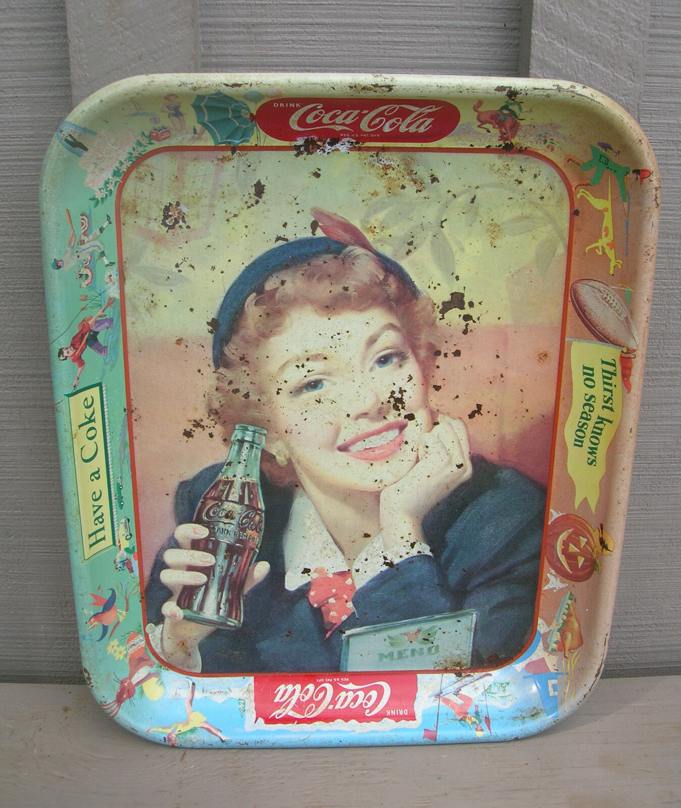 "Primary image for Old Vintage Coca Cola Metal Tray ""Thirst Knows No Season"" Kitchen Tool Decor"