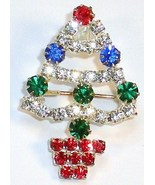 Christmas Tree Rhinestone red blue green white brooch pin silver tone - $11.00