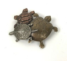 Vtg Turtle Family Brooch Pin Signed K & T Tri tone Metal figural animal ... - $14.84