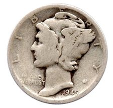 1945 S Mercury Dime - Silver - Moderate -VG-8 or Better - $6.00