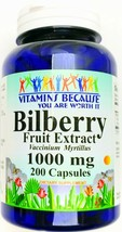 200 Capsule 1000mg Bilberry Fruit 250mg 4:1 Extract Natural Dietary VB - $13.90
