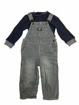 OshKosh B'Gosh Baby Boys Overall & Long Sleeve Bodysuit Set Striped/Navy - $23.39