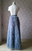 GRAY Tiered Tulle Skirt Women High Waist Tier Tutu Skirt Outfit Party Prom Skirt image 4
