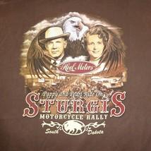 Sturgis Motorcycle Rally South Dakota Graphic T Shirt Brown Mens Size 2X... - $14.84