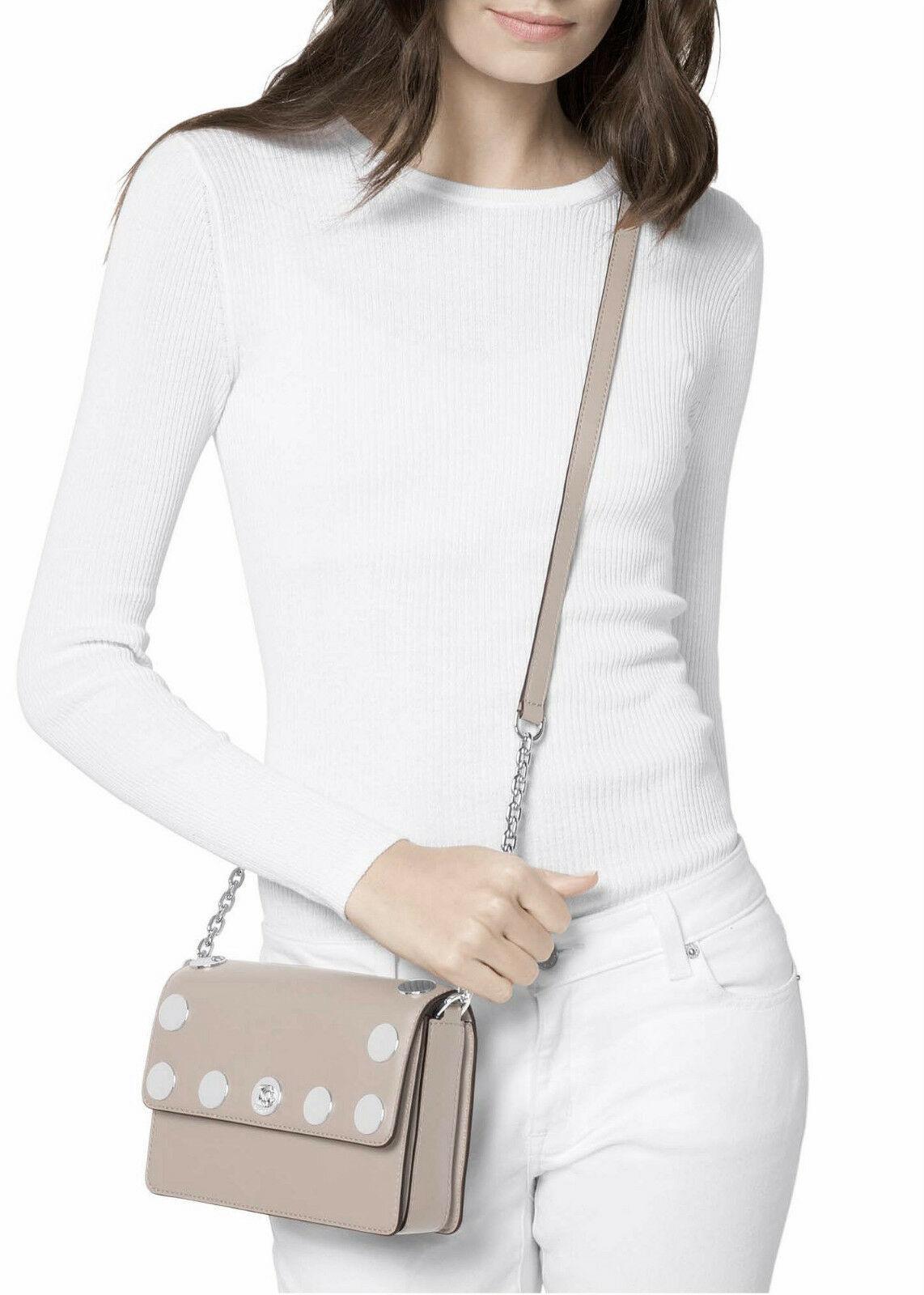 Michael Kors Rivington Stud Natalie Small Chain Messenger Handbag Cement Leather