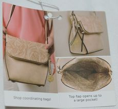 Simply Noelle Brand Beige Taupe Color Floral Leaf Pattern Womens Purse image 10