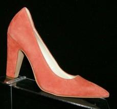 Anne Klein 'Hollyn' orange suede pointed toe slip on block pump heels 6.5M - $33.30