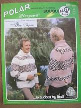 Vintage Bouquet Knitting Patterns ADULTS Cardigan Sweater INDIAN Design Neepawa - $7.95
