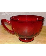 """DEPRESSION GLASS--  NEW MARTINSVILLE GLASS RED ADDIE COFFEE CUP   2 5/8"""" - $10.95"""