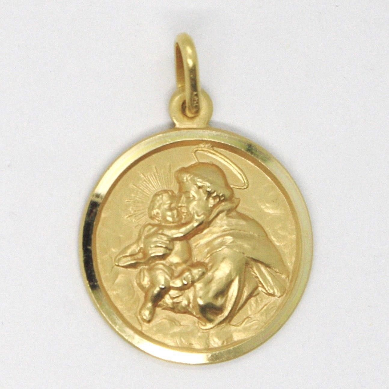 18K YELLOW GOLD ST SAINT ANTHONY PADUA SANT ANTONIO MEDAL MADE IN ITALY, 17 MM