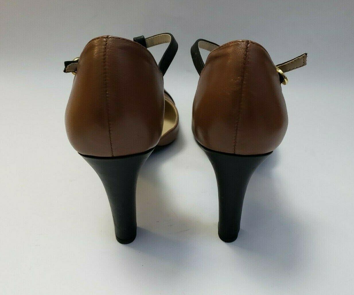 Franco Sarto Shoes Heels Brown Black T-Strap Tanda Womens Size 8.5 M image 4