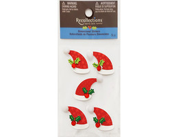 Recollections Dimensional Santa Hat Stickers, Set of 5, #158898