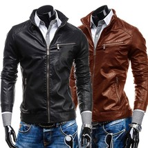 2018 new cross collar men's casual fashion leather PU leather zipper jacket - $51.30