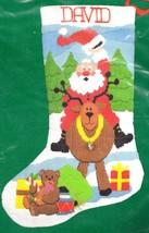 Dimensions Hi Ho Santa Reindeer Christmas Eve Long Needlepoint Stocking ... - $117.95
