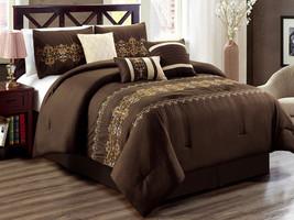 11-Pc Regan Royal Damask Scroll Fleur-de-lis Comforter Curtain Set Brown... - $97.54
