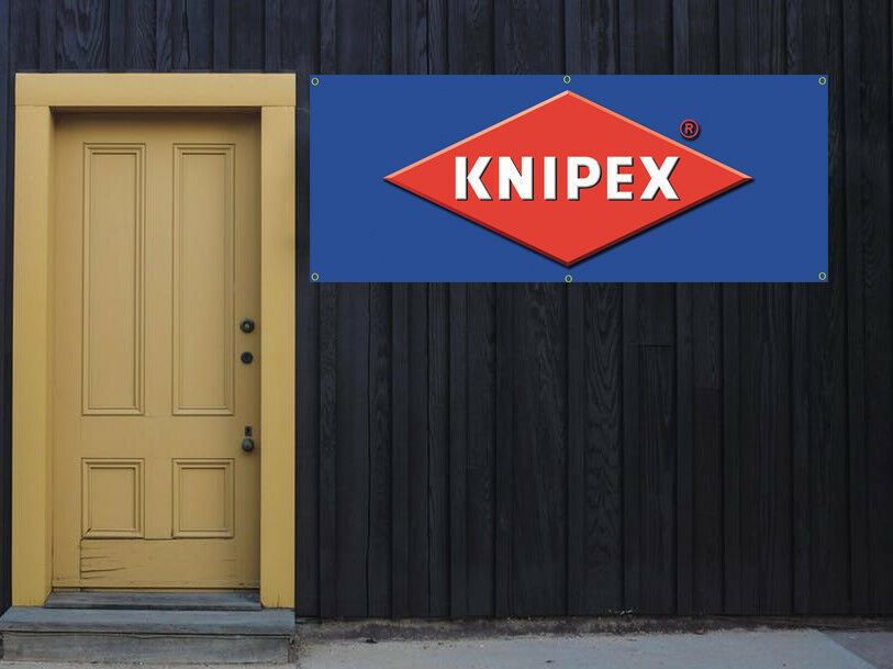Knipex tools Vinyl Banner 2'x5' 13 OZ. Ready to Hang Garage Signs BLUE