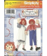 Raggedy Ann Andy Costume Simplicity 2510 Pattern Sz 3 to 8 Halloween NEW... - $5.93