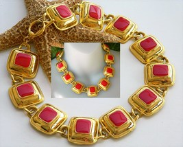 Vintage Panel Necklace Red Enamel Gold Squares Toggle Choker - $46.95