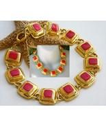 Vintage Panel Necklace Red Enamel Gold Squares Toggle Choker - $46.95