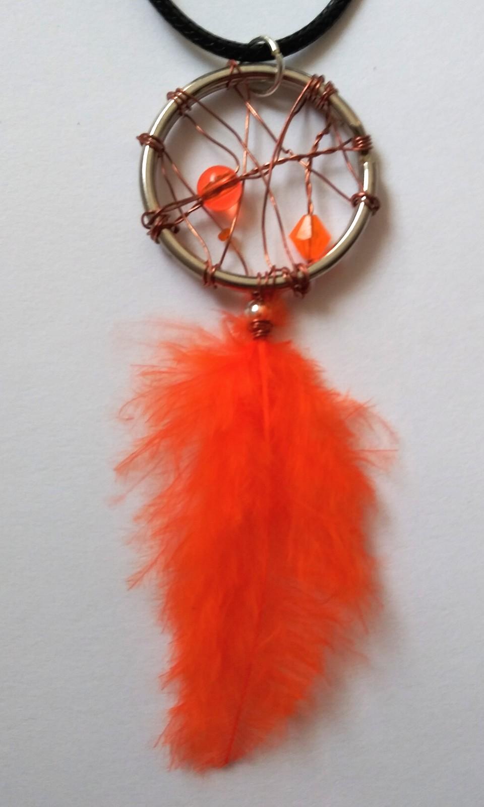 Orange bead  orange feather bronze wire wrapped dream catcher necklace