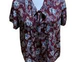 LANDS' END  Women's Size 10 Paisley Short Sleeve Blouse Tie Neck Maroon Burgundy