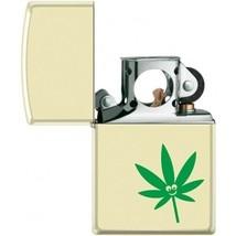 Zippo Lighter - Pot Leaf - Smiley Face Pipe Lighter Creme Matte - 854436 - $26.69