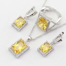 Silver 925 Jewelry Sets For Women Square Yellow Cubic Zirconia Necklace Pendant  image 2