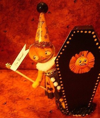 Vintage inspired spun cotton Pumpkin and coffin  NO. 252