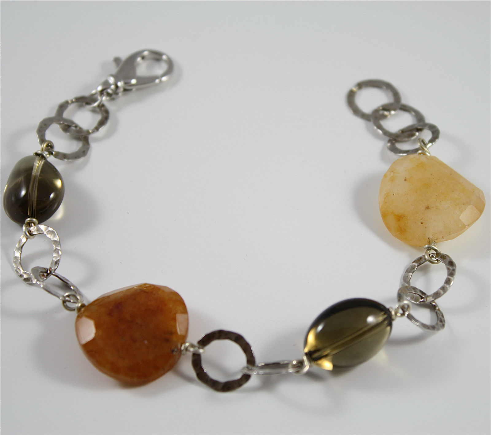 Bracelet in Sterling Silver 925 Rhodium with Quartz ospreys and Jade Brown disc