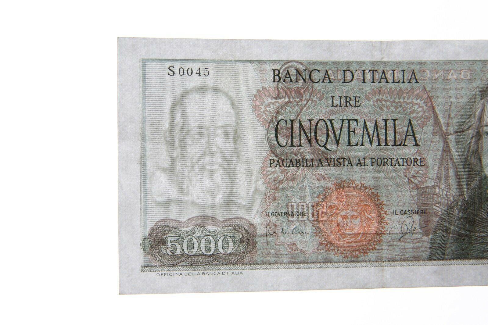 1964 Italia 5000 Liras Note XF Banca D'Italia Extra Fino Italiano P #98